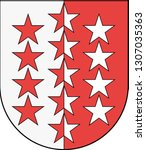 Coat of arms of Canton of Valais is one of the 26 cantons of Switzerland. Vector illustration