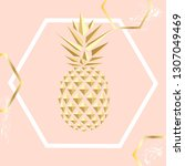 golden pineapple. pineapple.... | Shutterstock .eps vector #1307049469