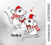cartoon little white mouses in...   Shutterstock .eps vector #1307053963