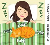 girl deeply sleeping and cat... | Shutterstock .eps vector #1307059093
