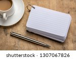 blank index cards with a cup of ... | Shutterstock . vector #1307067826