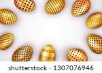 decorated easter golden eggs... | Shutterstock . vector #1307076946