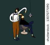 vector illustration. man at the ... | Shutterstock .eps vector #1307077090