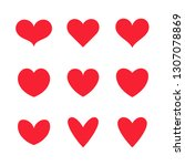 vector red hearts icons set.... | Shutterstock .eps vector #1307078869