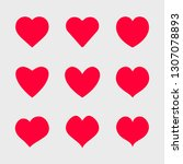 vector red hearts icons set.... | Shutterstock .eps vector #1307078893