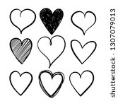vector set of hand drawn hearts ... | Shutterstock .eps vector #1307079013