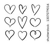 vector set of hand drawn hearts ... | Shutterstock .eps vector #1307079016