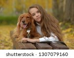 happy girl in the park with a... | Shutterstock . vector #1307079160