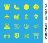 tourist icons set with... | Shutterstock .eps vector #1307085766