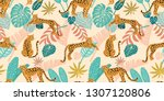 leopard pattern with tropical... | Shutterstock .eps vector #1307120806