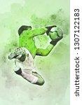 watercolor soccer goalie diving ...   Shutterstock . vector #1307122183