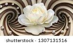 3d wallpaper  white rose and... | Shutterstock . vector #1307131516