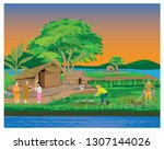 lifestyle of people at... | Shutterstock .eps vector #1307144026