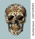 sugar skull. day of the dead... | Shutterstock .eps vector #1307149393