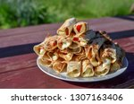 pita bread filled with grilled... | Shutterstock . vector #1307163406