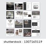set of modern trendy magazine... | Shutterstock .eps vector #1307165119