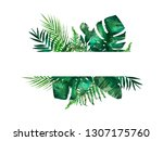 tropical leaves frame. circle... | Shutterstock . vector #1307175760