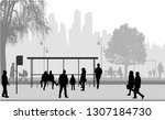 people silhouettes urban... | Shutterstock .eps vector #1307184730