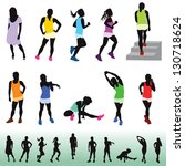 female exercising silhouettes. The bottom figures are the same in black and white. Shown for visual reference.