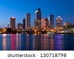 Downtown Tampa Florida Skyline at Night - stock photo