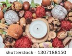 homemade candlestick in the... | Shutterstock . vector #1307188150