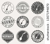 norway set of stamps. travel... | Shutterstock .eps vector #1307194870
