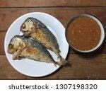 Stock photo fried mackerel with shrimp paste sauce nam prik kapi pla too 1307198320