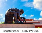 Small photo of London, UK - May 18 2018: The Newton Sculpture by Eduado Paolozzi based on William Blake's 1795 print of Newton: Personification of Man Limited by Reason at the British Library