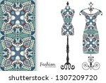 vector fashion illustration.... | Shutterstock .eps vector #1307209720
