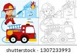 vector cartoon of fire rescue ...   Shutterstock .eps vector #1307233993