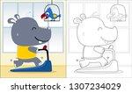 Vector Cartoon Of Hippo Runnin...
