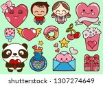 valentine's day kawaii icons... | Shutterstock .eps vector #1307274649