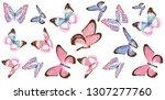 beautiful pink butterflies ... | Shutterstock .eps vector #1307277760