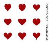 hearts icons set. vector... | Shutterstock .eps vector #1307306200