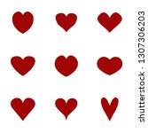 hearts icons set. vector... | Shutterstock .eps vector #1307306203