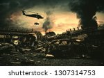 helicopter and forces in... | Shutterstock . vector #1307314753