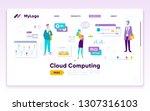 landing page template. digital... | Shutterstock .eps vector #1307316103