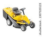 Yellow Ride Lawn Mower Isolated - Fine Art prints