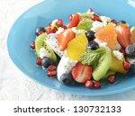fruit salad on dish | Shutterstock . vector #130732133