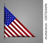 corner ribbon usa flag. golden... | Shutterstock .eps vector #1307323696