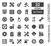 settings icon set. collection... | Shutterstock .eps vector #1307340280