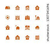 cottage icon set. collection of ... | Shutterstock .eps vector #1307341696