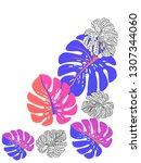 vector tropical pattern with... | Shutterstock .eps vector #1307344060