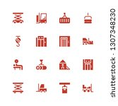 lift icon set. collection of 16 ... | Shutterstock .eps vector #1307348230