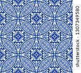 majolica pottery tile  blue and ... | Shutterstock .eps vector #1307349580