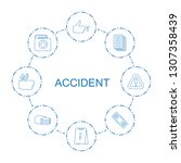 8 accident icons. trendy... | Shutterstock .eps vector #1307358439
