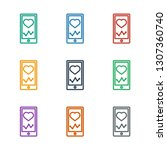 heartbeat on phone icon white... | Shutterstock .eps vector #1307360740