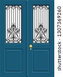 wrought iron door in vector. | Shutterstock .eps vector #1307369260