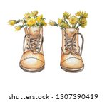 brown boots like a vase for... | Shutterstock . vector #1307390419