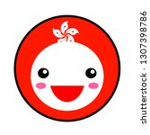 kawaii hong kong flag smile.... | Shutterstock .eps vector #1307398786